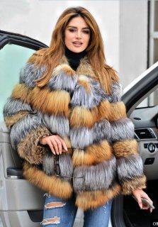 Women Real Red Silver Fox Fur Coat シルバーフォックスファーコート ジャケット