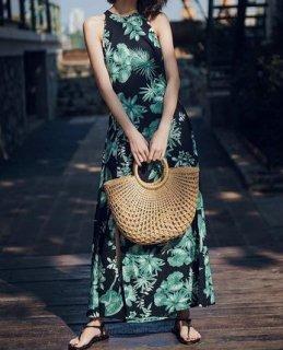 Women'sHawaiian patterned long maxi dressバックレスハワイアン柄ロングマキシドレス ワンピース
