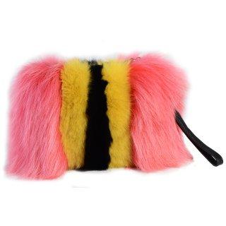 women's fox furclutch shoulder 2waybag リアルフォックスファークラッチショルダーバッグ
