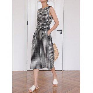 Women's Checkered waist point sleeveless knee-length one piece dressチェック柄膝丈ドレス ワンピース