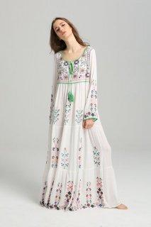 women's bohemian embroidered flower dress one piece ボヘミアン刺繍ロングマキシドレス ワンピース