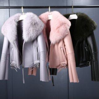 Women Fox Fur Sheep Skin Real Leather Riders Jacket  リアルシープスキンライダース フォックスファーコート ジャケット