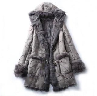 Women Real Sheep Skin Patchwork Mouton Fur Hoodie Jacket Coat リアルシープスキンパッチワークムートンファーフード付コートダッフル型