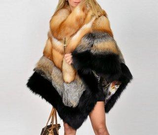 Women Real  Fox  Fur Poncho Coat Jacket  リアルフォックスファーポンチョ コート ジャケット