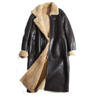 Women Real Sheep Skin  long leather coat リアルシープスキンムートンファーロングコート