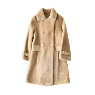 Women Real Sheep Skin  Fur Coat Jacket  リアルシープスキンムートンコート ジャケット