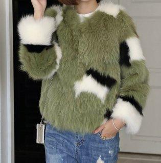 Women Fox Fur  Matching Fur Jacket Coatリアルフォックスファーコート ジャケット