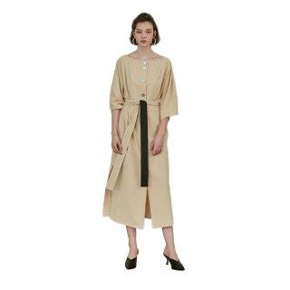 women's Three-quarter sleeve boat neck knee underwear dress one piece ボートネック7分袖膝下丈ドレス ワンピース