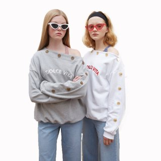 shoulder strapless asymmetric  letter female sweatershirtアシンメトリ ロゴ入りトレーナーセータープラスサイズあり
