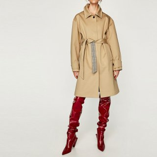 Women Long length simple coat windbreaker jacketシンプル英国調トレンチコート ジャケット