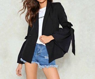 Women simple sweet trumpet sleeves blazer coatトランペット袖シンプルジャケット