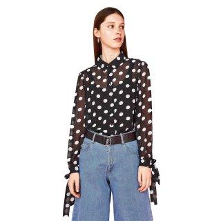 Dot pattern cuff band ribbon blouse shirt ドットプリント袖口帯ボウ付きブラウス シャツプラスサイズあり