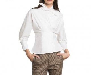Stylish bow tie blouse shirt ボウ付きスタイリッシュホワイトブラウス シャツプラスサイズあり