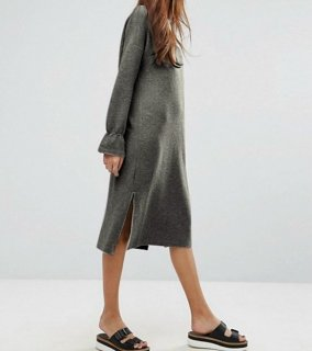 women's  leaf sleeve side slit solid color sweater dress スウェットリーフスリーブ膝丈ドレス ワンピース
