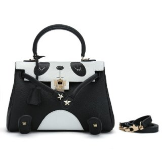 Leather Panda Tote Bag with Smile Strap 本革本皮パンダショルダーストラップ付スマイルトートバッグM