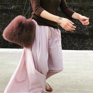 Faux  Fur Puff Bag フェイク&リアルフォックスファー巾着ショルダーポシェットバッグ