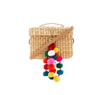 Women's Baby Roge Pom Pom Tote Straw Cross-Body Shoulder Bag 四角ポンポン付ストローショルダーバッグかごバッグバスケットカゴバッグ