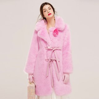 Women Pink Real  Fox  Fur long Coat  Jacket  リアルフォックスファーピンクファーロングコート ジャケット