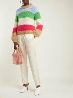 women's  Fake rabbit fur smart tote handbag持ち手がパールになったフェイクファースモールトートバック