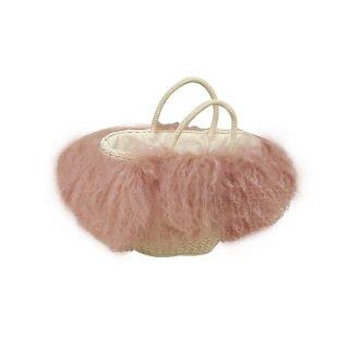 women's  wool fur grass straw handcuffs hand shoulder basket bagリアルモンゴリアファー付きバスケットかごトートバック