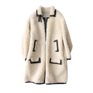 Women Real Sheep Skin  Mouton lamb longcoat  Jacket Coat リアルシープスキンムートンファーロングコート