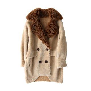 Women Real Sheep Skin  lamb Taylor collar Coat リアルシープスキンムートンファーテイラーカラーロングコート