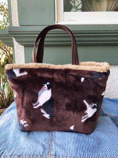 ボーダーコリー柄ふわふわトートバッグ