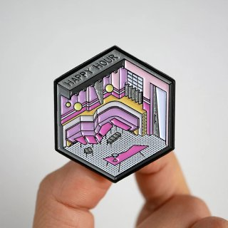 Isometric Pink Bar Pin / Studio Cult