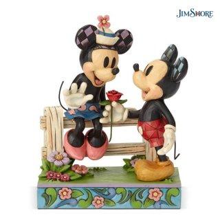 【JIM SHORE】ディズニートラディション:Mickey & Minnie by Fence