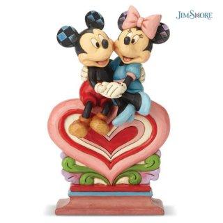 【JIM SHORE】ディズニートラディション:Mickey Minnie Sitting on Heart【在庫有り】
