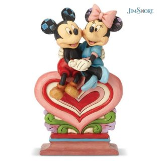 【JIM SHORE】ディズニートラディション:Mickey Minnie Sitting on Heart