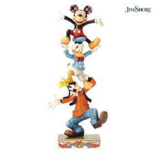 【取り寄せ】【JIM SHORE】ミッキー&ドナルド&グーフィー バランスタワー