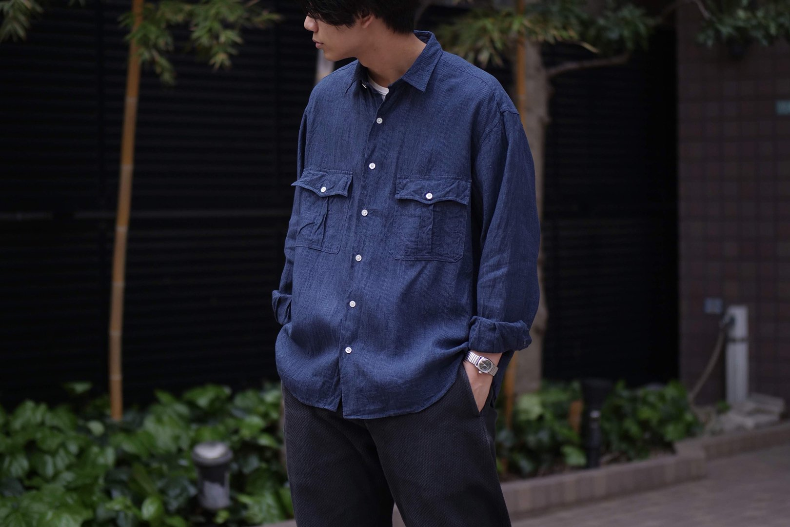 <img class='new_mark_img1' src='https://img.shop-pro.jp/img/new/icons5.gif' style='border:none;display:inline;margin:0px;padding:0px;width:auto;' />PORTER CLASSIC / ROLL UP LINEN STRIPE SHIRT