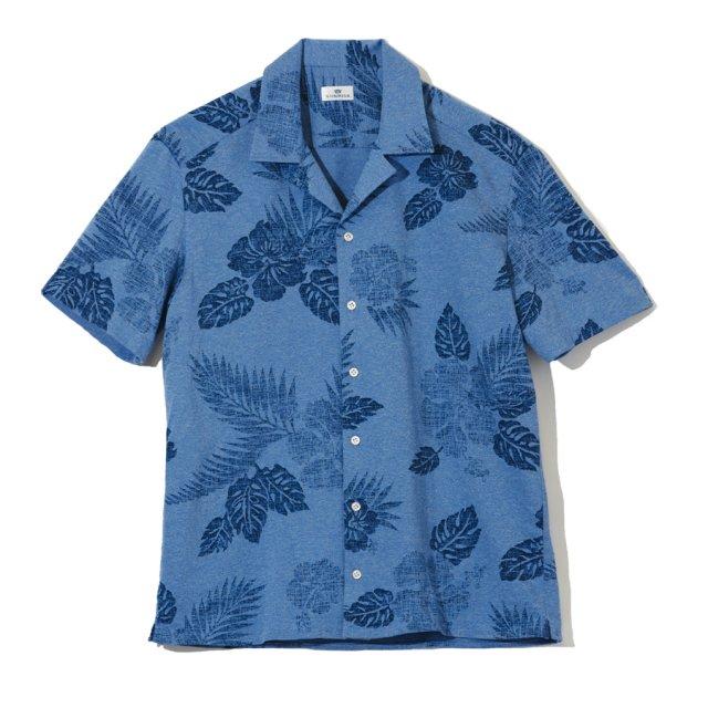 トロピカルプリントジャージーショートスリーブシャツ