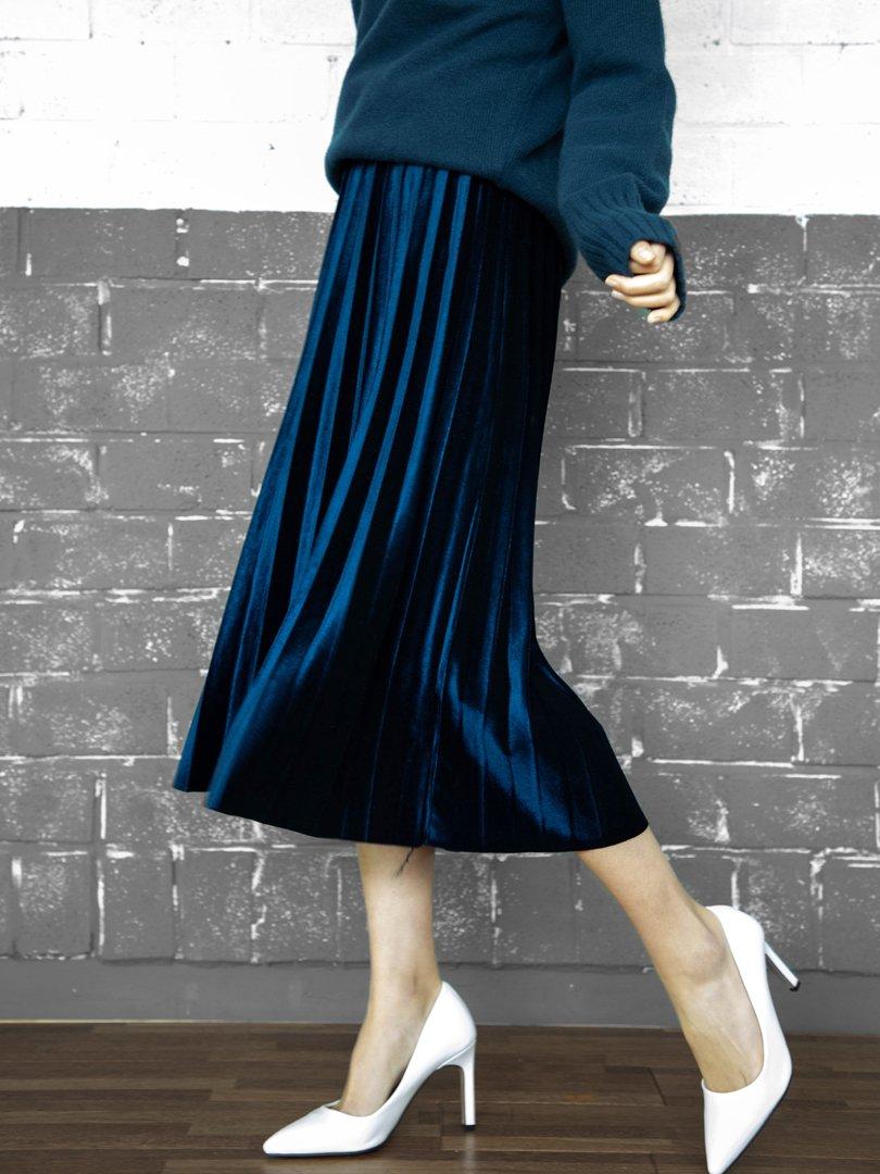 ベルベットプリーツスカート(3colors)