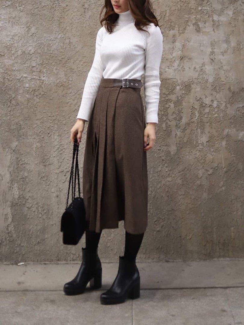 サイドベルトウールスカート(2colors)
