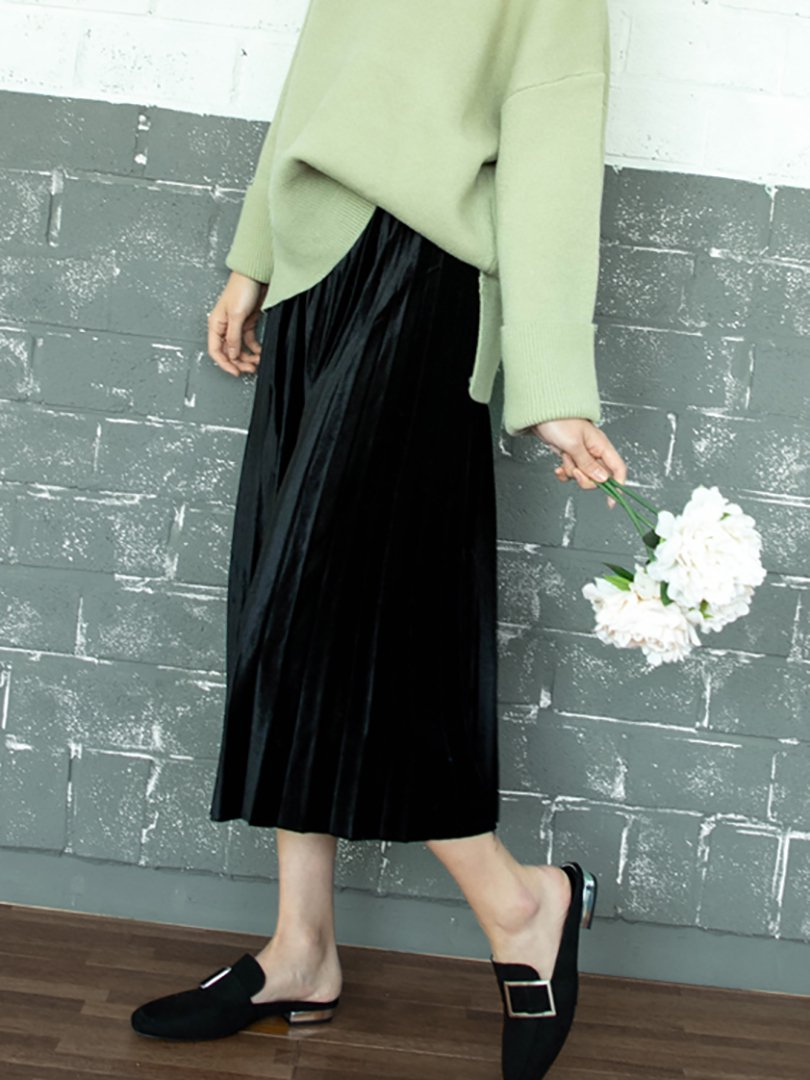 【即納】ベルベットプリーツスカート(3colors)【ブラック1着のみ】