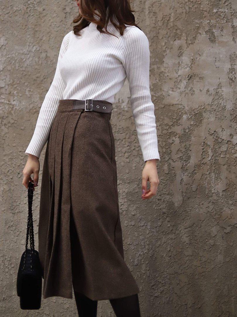 【即納】サイドベルトウールスカート(2colors)【アイボリー、ブラウン1着ずつのみ】