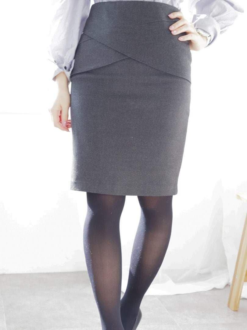 【即納】クロスタイトスカート(2colors)【Sサイズ ブラック、チャコールグレー1着ずつのみ】
