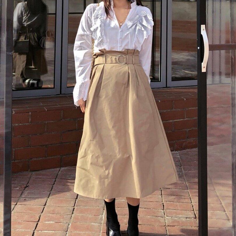 トレンチミディスカート(2colors)