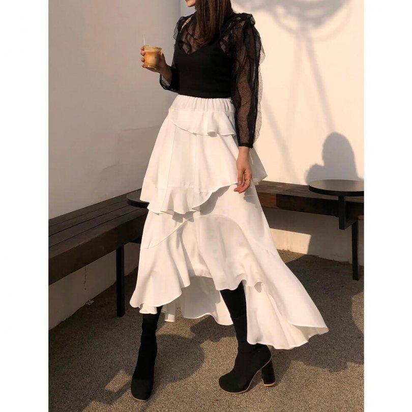 フリルエアリースカート(2colors)