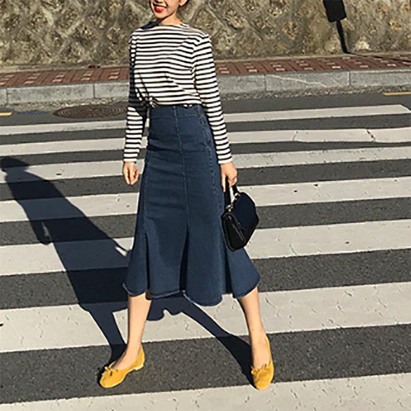 フレアデニムスカート(2colors)