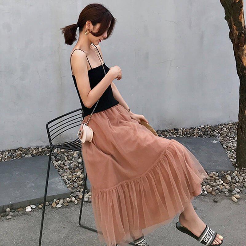 チュールギャザースカート(2colors)