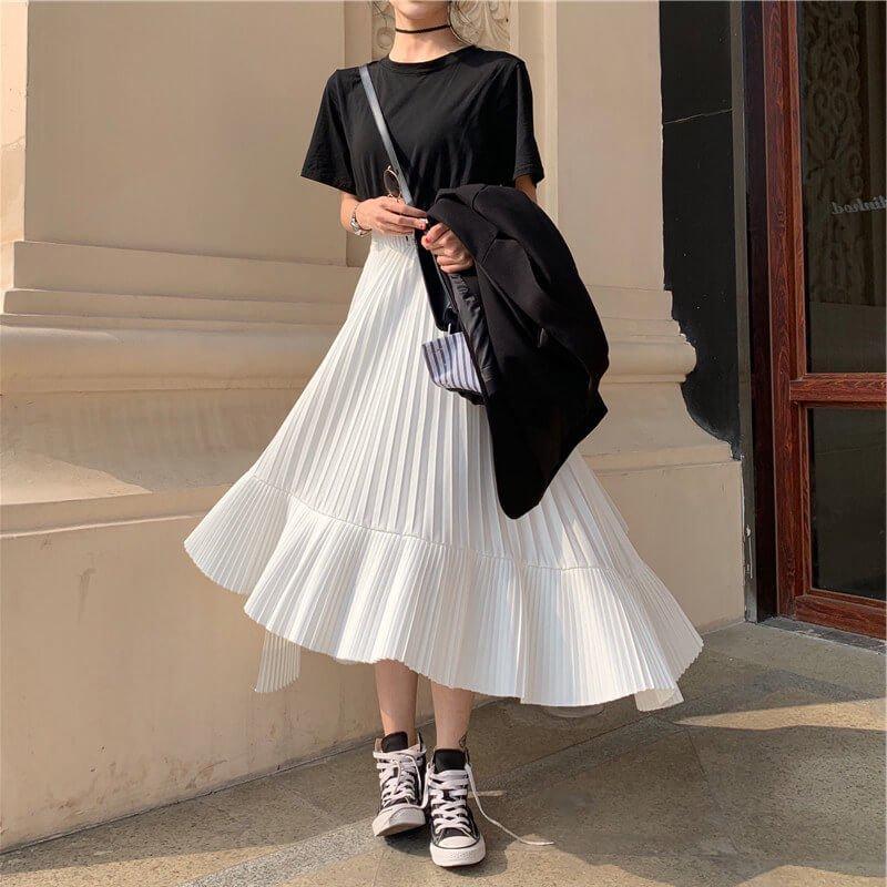 カジュアルTシャツ+変形プリーツスカート(2colors)