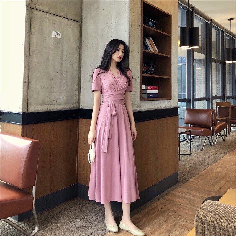 Vネックラップドレス(3colors)