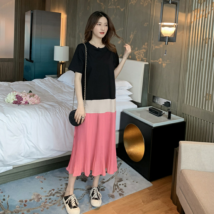 <img class='new_mark_img1' src='https://img.shop-pro.jp/img/new/icons14.gif' style='border:none;display:inline;margin:0px;padding:0px;width:auto;' />バイカラープリーツロングワンピース