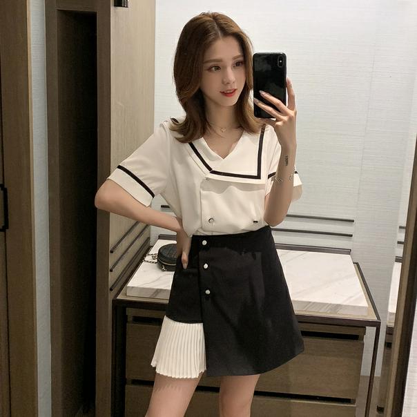 ラペルストライプシャツ+プリーツラップスカート【別売り可】