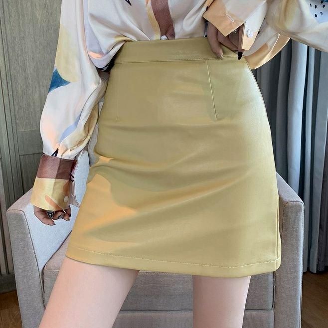 パステルレザースカート(3colors)