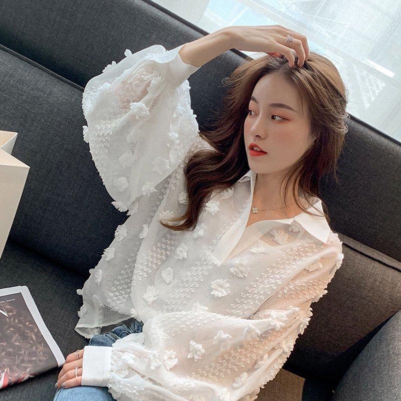 刺繍バルーンスリーブシャツ