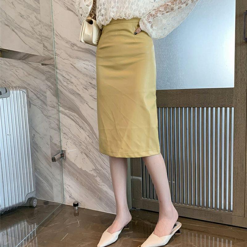 レザーミディ丈スカート(2colors)